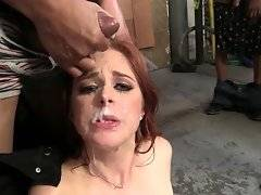 Nasty hottie Penny Pax loves to have her pretty face creamed by black men.