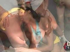 Hot looking ebony chick hungrily tastes a lot of erect white dicks.