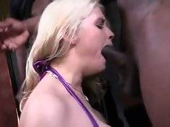 Cock hungry blonde Sarah Vandella helps black men to free their shafts.