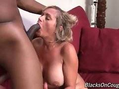 Curvaceous lady boss is jumping on her black employee`s huge boner.