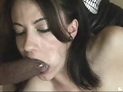 Two tough black dudes attack white slut with their monster cocks.