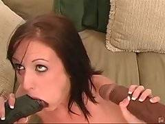 Cutie slurps two dragon black dorks and then gets her pussy attacked.