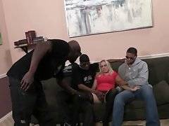 Slutty white milf eagers to taste three nice huge black dicks.