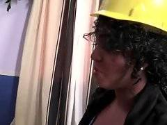 Ebony lady boss Layton Benton isn`t satisfied with her four white workmen.