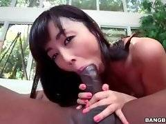 Petite Asian hooker is jumping on partner`s dragon black dork.