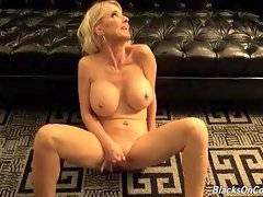 Big boobed mature slut can`t wait to get spunked by black men.