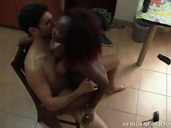 Antonio doesn`t go anywhere without his cameras! Every time he makes a sex tourism trip to Africa, you can be damn sure Antonio is recording every second of his crazy escapades. In this scene, he has thick ebony lady Monique at his service. He catches her wandering in his kitchen and spins her around and unzips his pants. After she sucks his huge dong, she spreads dem jiggly thighs apart and gets her pussy straight pounded! After a sex marathon, he pulls off his condom and rains down a blizzard of cum all over her face. From the bewildered expression on her face, this black babe doesn`t like it too much!